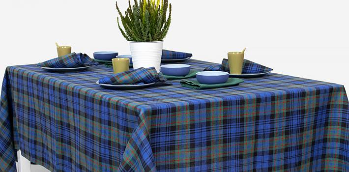 Leinen Tischdecke Blau Grün Kariert Weihnachten